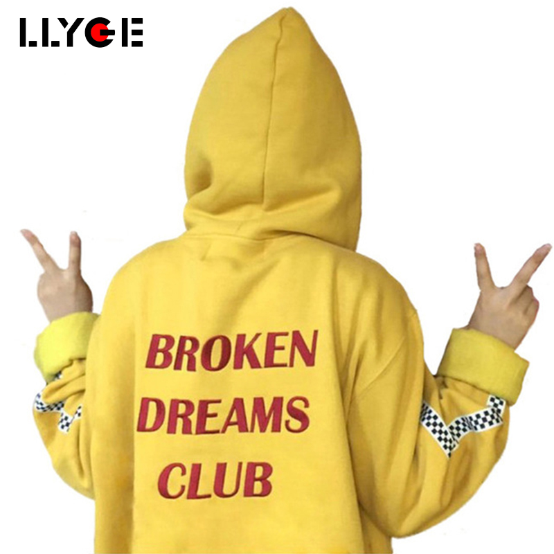 LLYGE Harajuku Hoodies Letters Print Autumn and Winter Women Tops Boyfriend Style Loose Outerwear Pullovers Hooded Sweatshirt