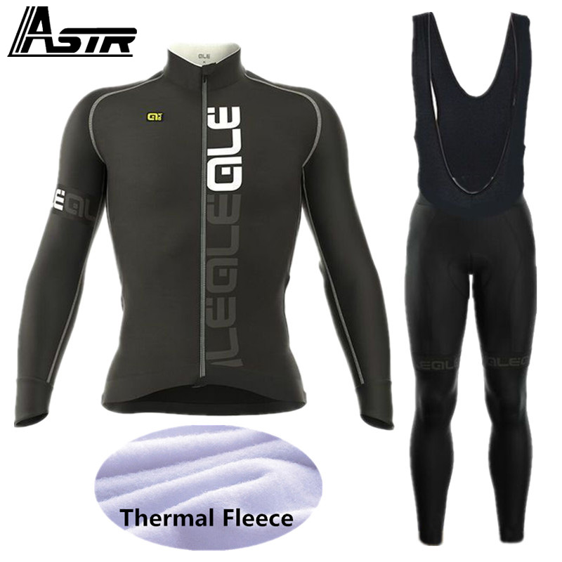 2017 ALE Winter Thermal Fleece Cycling Set Jersey Men Cycling Clothing Long Sleeve Road Bike Jerseys Bicycle Clothes Super Warm black thermal fleece cycling clothing winter fleece long adequate quality cycling jersey bicycle clothing cc5081