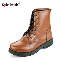 Kyle Keith Fashion Pu Leather Brown  Blue Black Boots Men High Top Martin Autumn Winter Comfortable Snow Shoes Boots