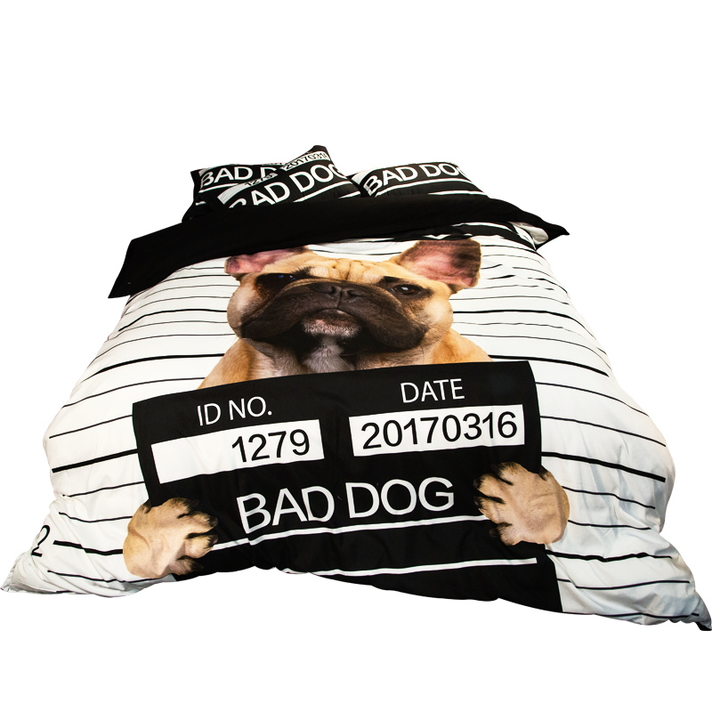 Cute Dog Print Bedding Set Twin Queen King Size Duvet Cover Bed Sheets Pillowcase 2017 Reactive Printing Bedroom Sets