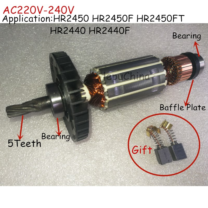 AC220V-240V Hammer Drill  Armature Rotor Replacement For MAKITA HR2440 HR 2440 HR2450 HR 2450 Good Quality