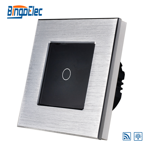 1gang 1way touch remote dimmer light switch,aluminum and glass panel swicth, EU/UK standard AC110-240V,Hot Sale