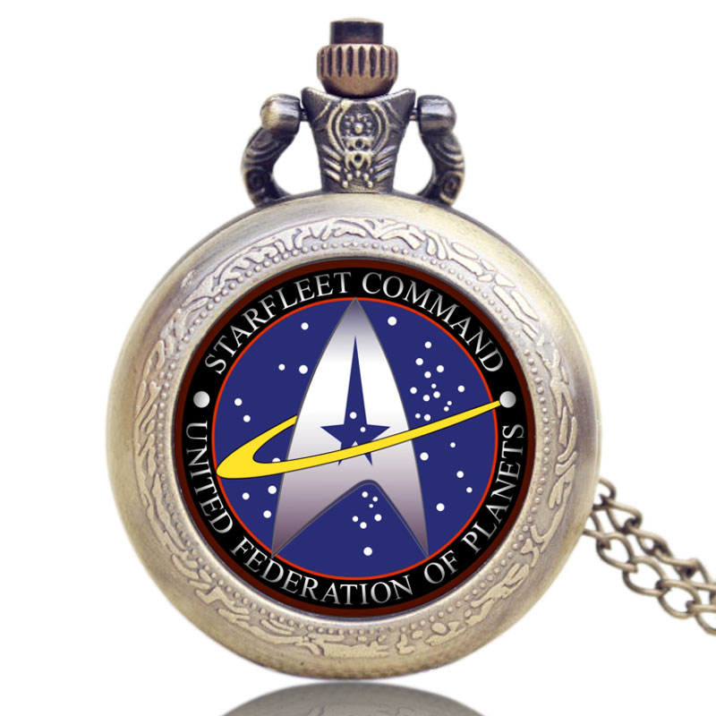 Fashion Design Antique Style Bronze Star Trek Quartz Movement Pocket Watch Necklace Pendant Chains P1133 lover pocket watch antique bronze turkish flag design moon and star theme quartz pocket watch with necklace chain gift ll 17
