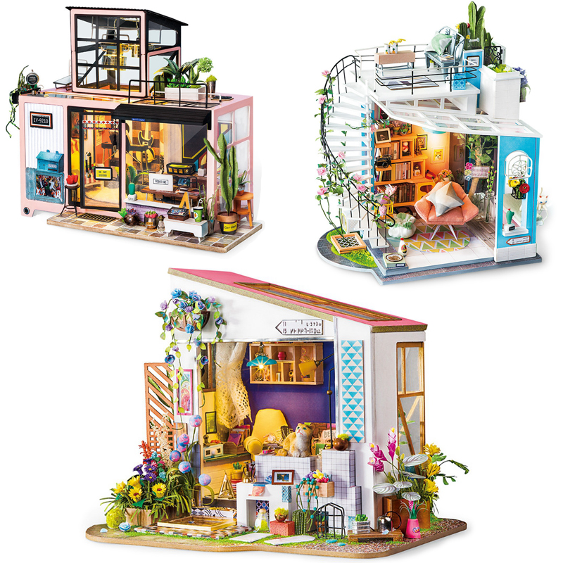 Robotime New Arrival DIY Doll House Loft with Furniture Miniature Wooden Dollhouse Model Building Toy Kits Toys For Children # E