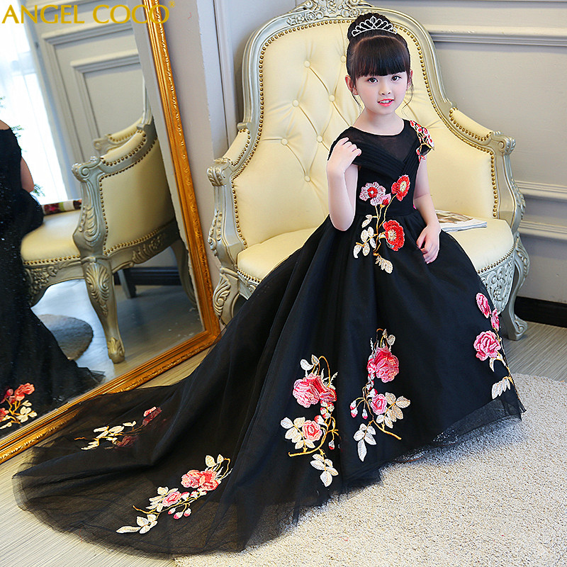 4-14 Year Christmas Kids Girls Wedding Black Long Dress Elegant Princess Party Pageant Formal Dress Sleeveless Girls Clothes lace teenagers kids girls wedding long girl dress elegant princess party pageant formal dress sleeveless girls clothes flower