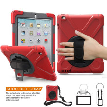 For iPad 3 Shockproof Case Heavy Duty Full Body Rugged Hybrid Cover Hand Strap+Neck Strap for 4/iPad 3/iPad2 with Kickstand