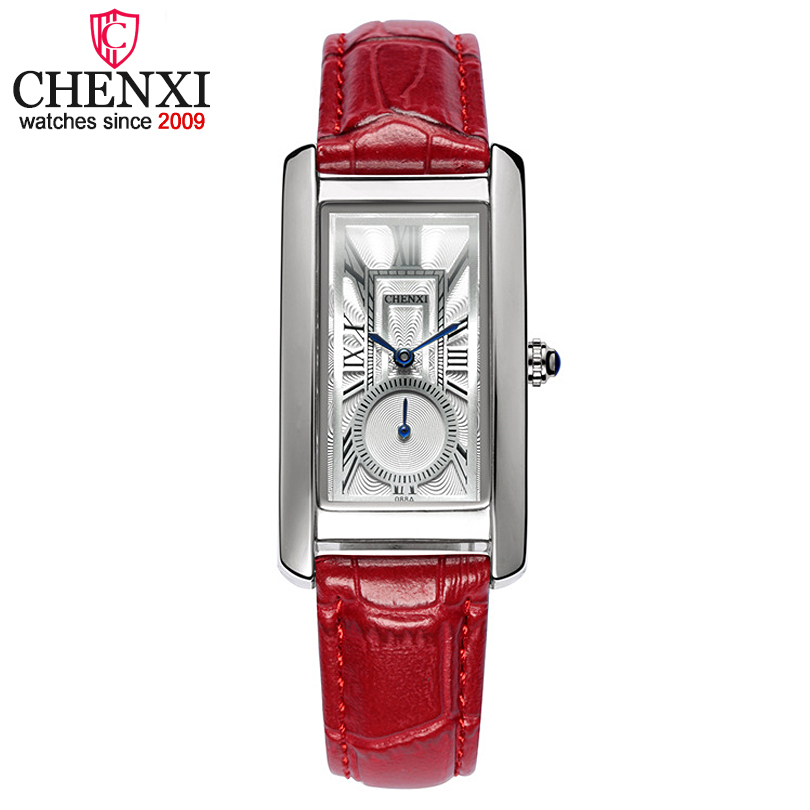 CHENXI Women's Red Leather Watches Women Fashion Simple Luxury Brand Analog Quartz Watch Ladies Small Fresh Classic Wristwatches