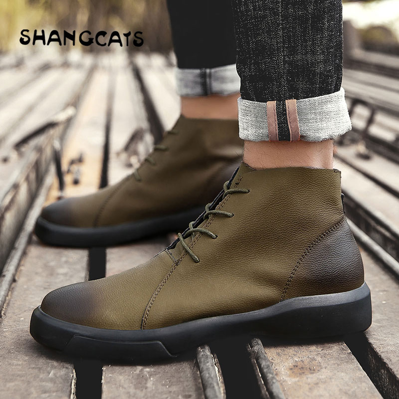 Зимняя обувь для мужчин Вулканизированная обувь с высоким берцем модный тренд 2018 высокое качество buty meskie Ретро зимняя обувь большой размер ...