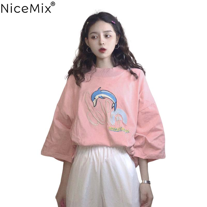 NiceMix 2019 new fashion women summer girls embroidery simple letter o-neck short sleeved t-shirt students ins loose cotta tops