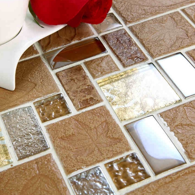 Free Shipping Leaf Gl Mixed Ceramic Mosaic Tile Backsplash Bathroom Tiles Fireplace