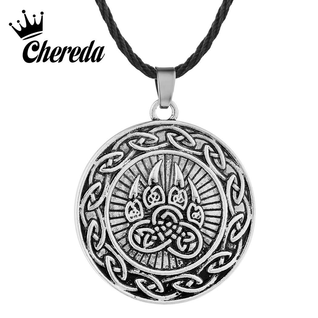Chereda Viking Bear Necklace for Men Trendy Round Vintage Punk Women Pendant Necklaces Rope Chain Trendy Jewelry