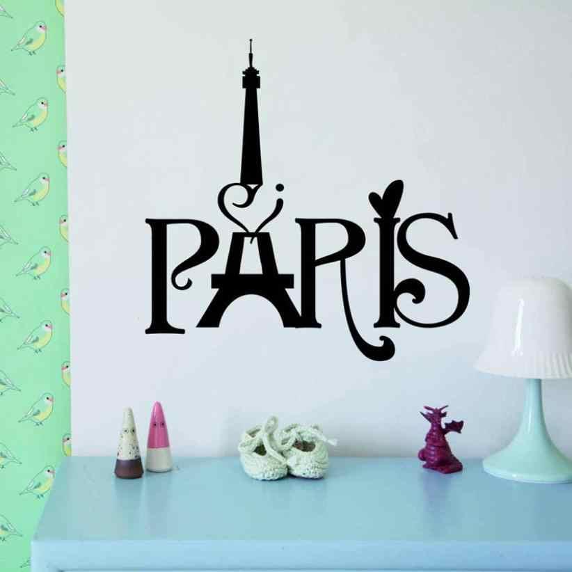 Pegatinas de pared de la Torre Eiffel París amor vinilo arte de la pared calcomanías del Mural del hogar Decoración D530