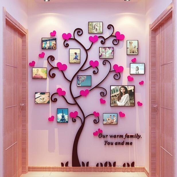 Hot sell 3D Acrylic wall stickers love heart photo frame tree ...