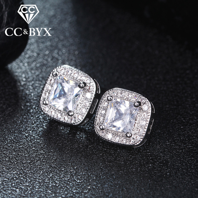 Vintage Square CZ Earrings For Women White Gold color Stud Earrings Made with Austrian Crystal Jewelry E043