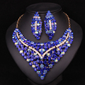 Fashion Gold Plated Crystal Necklace Earring Bridal Jewelry Sets For Brides Wedding Party Prom Decoration Gift Women LC00721