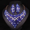 Moda Cristal Plateado del Oro Collar Pendiente de La Joyería Nupcial Conjuntos Para Las Novias Regalo de La Decoración Del Banquete de Boda de Baile Mujeres LC00721