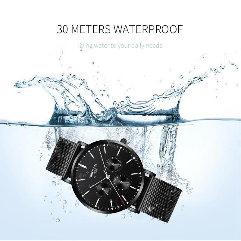 Image 4 - NIBOSI Mens Watches Slim Mesh Waterproof Minimalist Wrist Watch For Men Quartz Sport Watch Ultra Thin Clock Relogio Masculino-in Quartz Watches from Watches