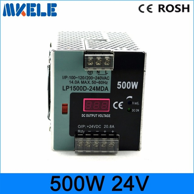LP-500-24 500W 24V 20.8A Small Volume Single Output Switching power supply for LED Strip CNC 3D Print with digital monitor