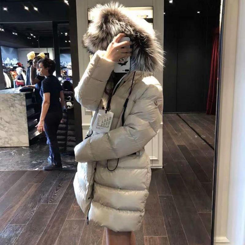 New Big Fur Collar Parka Thickening 90% White Duck   Down     Coat   Fashion Winter Jacket Women Hooded Warm Short Feather Outwear PJ338