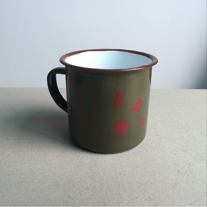Free shipping mugs drinkware handgrip metal enamel made traditional old item from China Chinese classic army green mug