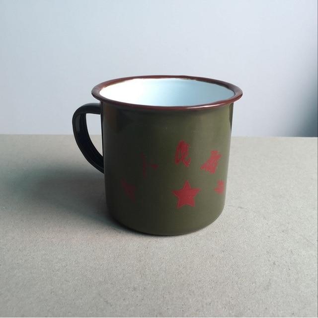 Free shipping mugs drinkware handgrip metal enamel made traditional old item from China Chinese classic army green mug