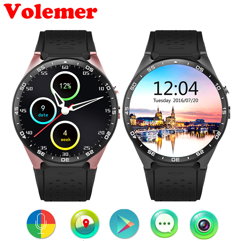 Volemer KW88 3G WIFI Smartwatch Cell Phone Bluetooth Smart Watch Phone Android 5.1 SIM Card Camera Heart Rate Monitor GPS Watch 3g smart watch phone support sim card gps wifi fm heart rate monitor pedometer bluetooth camera touch screen z9 4gb rom android