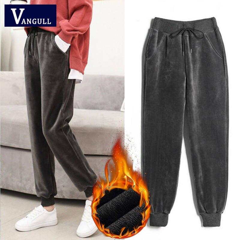 Vangull  Winter Pants Women Elastic Waist Velour Harem Pants 2019 New Casual Solid Adjustable Sashes Plus Size Loose Women Pants