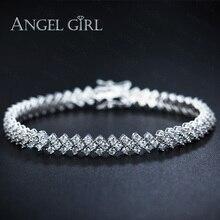 Angel girl aaa + cz elegante pulseras de diamantes para mujer ronda Joyería de la Boda de corte 30 unidades el envío libre de dhl a EE. UU.