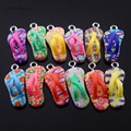 Julie Wang 10pcs Mini Charms Colorful Fimo Flip Flops with Eye Nails Pendant Handmade Hanging Crafts