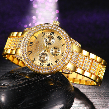 Hip Hop Gold Silver Quartz Watch For Men Women Bling Iced Out Diamonds Watch Male Clock Hip Hop Wristwatch Party Gift W0020