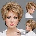 Жаропрочных синтетические короткие парики вырезать эльфа прическа естественный Прямые бледная блондинка Парики для Женщин пушистые парики челки стороны