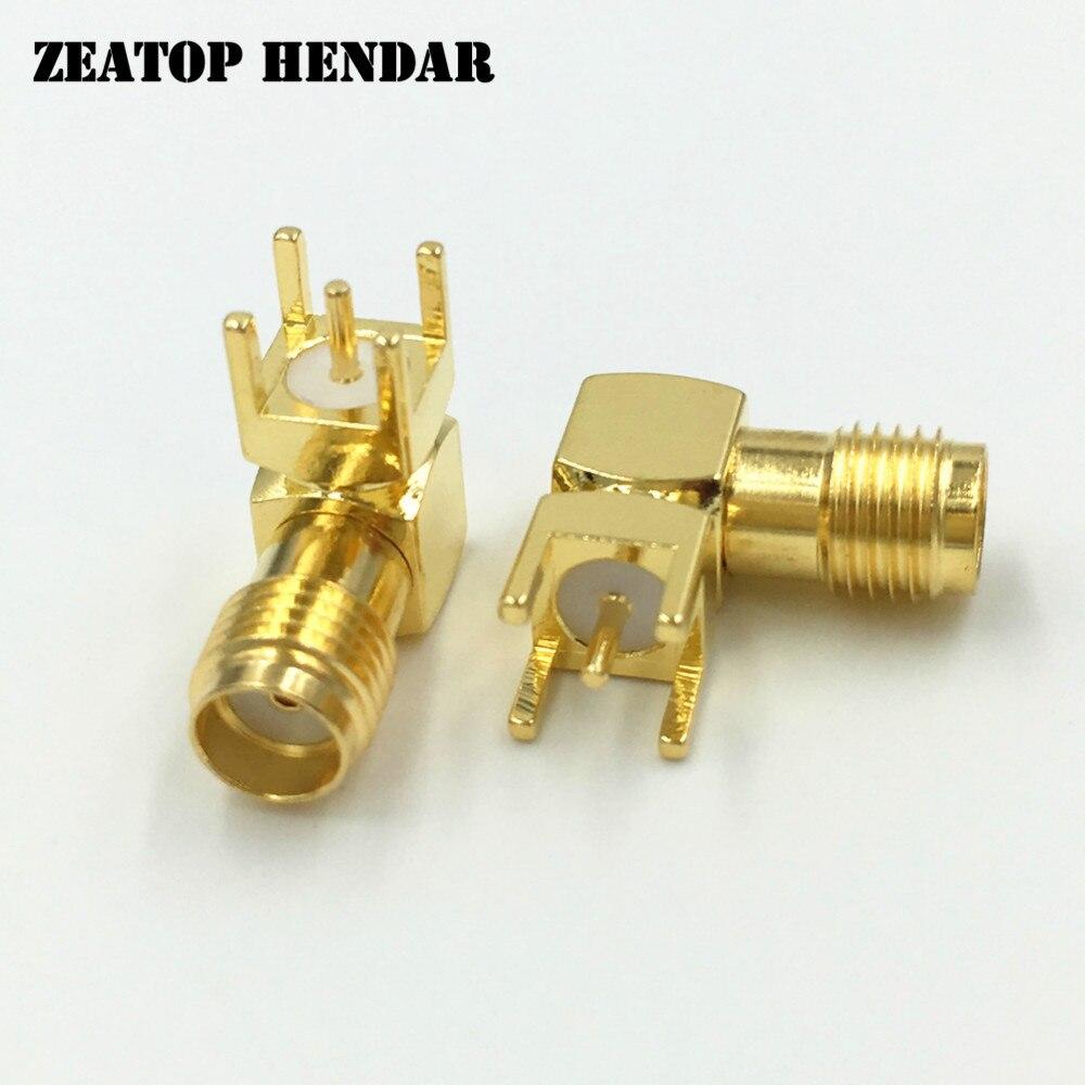 200Pcs Brass SMA Female Right Angle Jack 4 Leg PCB Mount Plug Straight RF Coaxial Connector