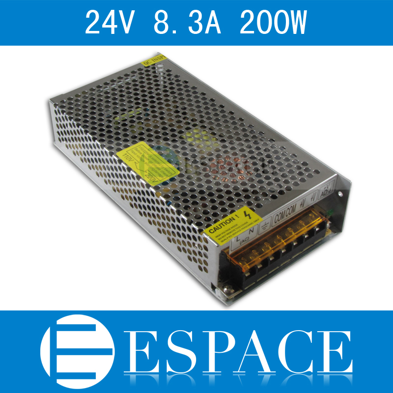 24V 8.3A 200W Switching Power Supply Driver for LED Strip AC 100-240V Input to DC 24V free shipping free shipping single led power supply driver ac 100 240v to dc 24v 50w voltage converter