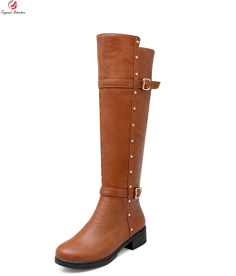Original Intention Women Knee High Boots Round Toe Square Heels Black White Grey Brown Boots Shoes Woman US Size 4-10.5 original intention high quality women knee high boots nice pointed toe thin heels boots popular black shoes woman us size 4 10 5