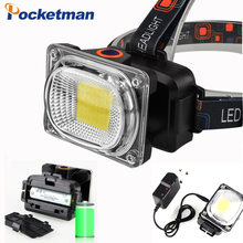 Power COB LED Headlight Headlamp DC Rechargeable Head Lamp Torch 3-Mode 18650 Battery Waterproof Hunting Fishing Lighting(China)