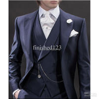 2016 Nieuwe Ontwerp Ochtend stijl Marineblauw Bruidegom Tuxedos Groomsmen mannen Wedding Suits Beste man Suits (Jas + broek + Vest + Tie)