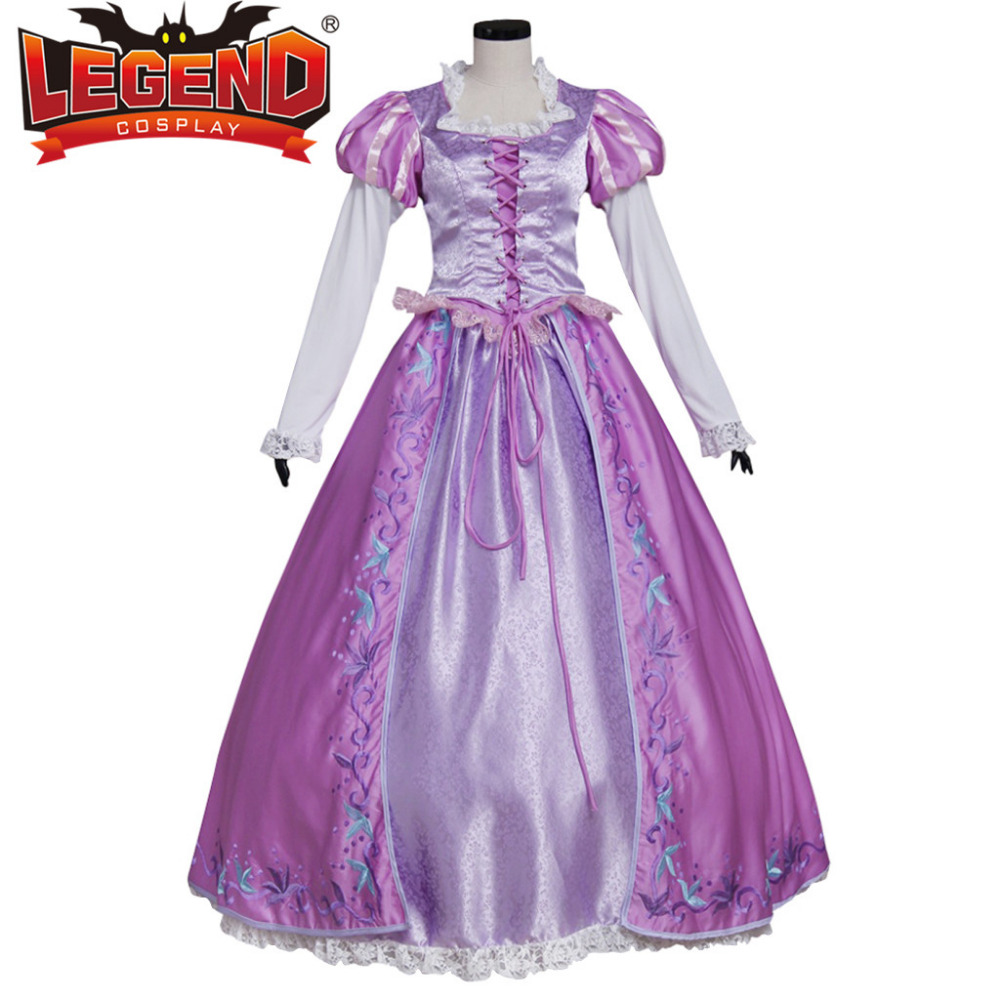 Tangled Rapunzel Princess Dress Costume Adult Women's Halloween Carnival Cosplay Costume