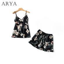 Arya Sleep Lounge Pajama Sets Sexy Satin Women Summer Pyjama