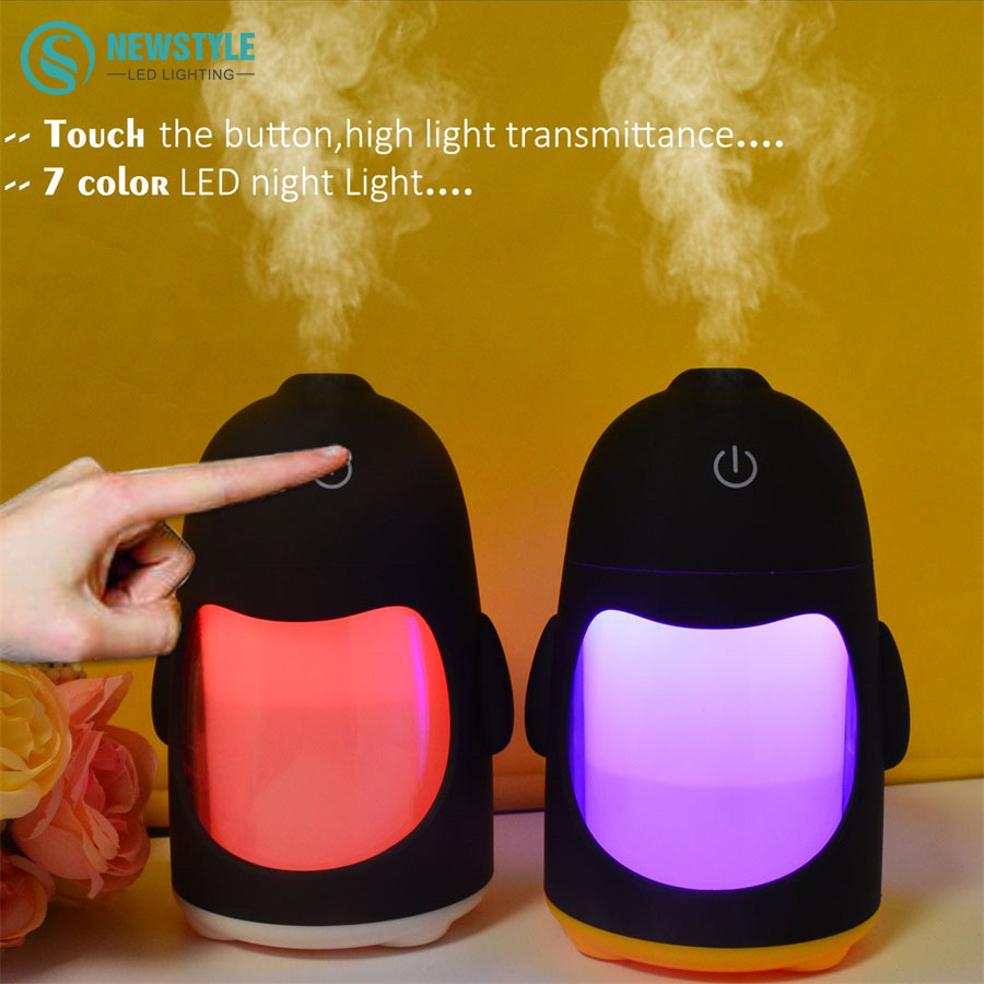 Aroma night lamps - Usb Penguin Mini Humidifer Led Night Light Ultrasonic Aroma Essential Oil Diffuser Home Office Colorful Led