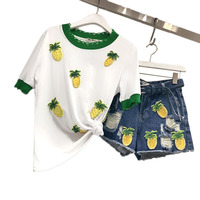 2 Piece Set Pineapple Suits Beaded Denim Shorts White T Shirts Women Ripped Jeans Short Sleeve