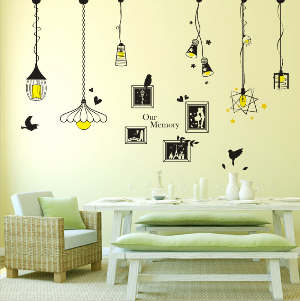 Image 5 - Creative Chandelier Photo Wall Sticker Bedroom Living Room Porch Background Decoration Sticker For Wall Decorations Living Room-in Wall Stickers from Home & Garden