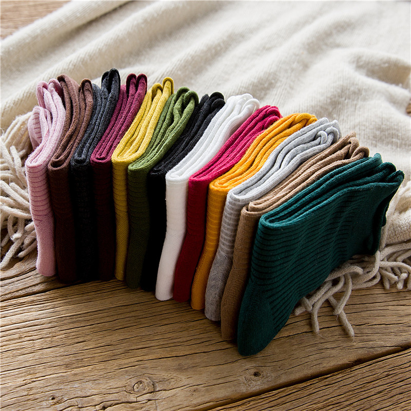 New Women Socks 1 Pair Long Socks Girls Cotton Solid Color Striped Candy Casual Breathable Socks Women Fashion  Socks Lady
