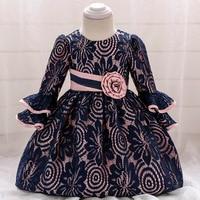 Baby Girl Lace Dress Baptism Girl Baby Three Quarter Sleeve Dress O neck Vintage Style Navy Blue Princess Kids Dresses For Girls
