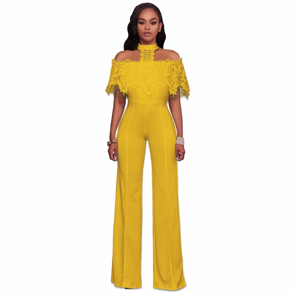 Off Shoulder Halter Neck Lace Ruffles Long Jumpsuit Plus Size High Waist Backless Wide Leg Playsuits Women Outfits Club Romper
