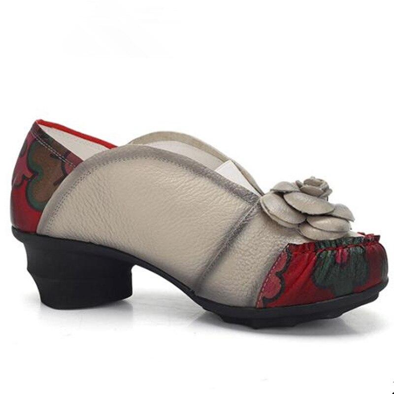 Cuir Hauts Femmes Vache rouge Fleurs En Mode Nouveau Peau 5 Sort 2018 Couleurs gris De Automne Chaussures À Talons Femme Noir Cm q6w01Zz