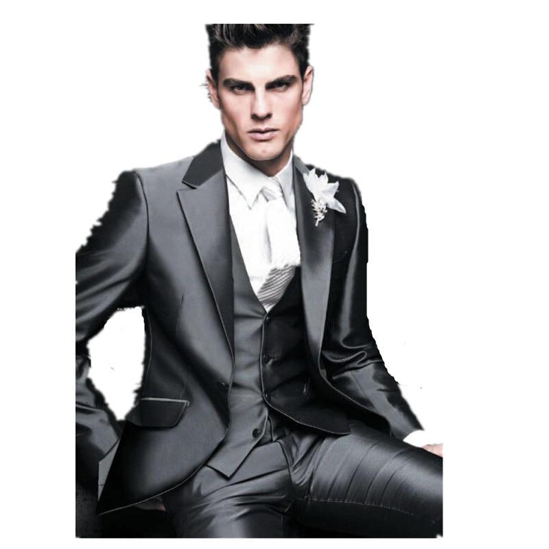 2015 New Style Groom Tuxedos Shiny Grey Best man Suit Notch Lapel ...