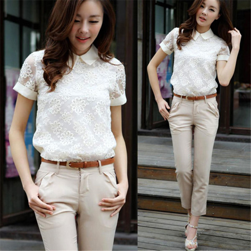 Fashion Women Sexy Floral Embroidery Lace Short Sleeves Hollow Blause Tops Elegant T Shirt