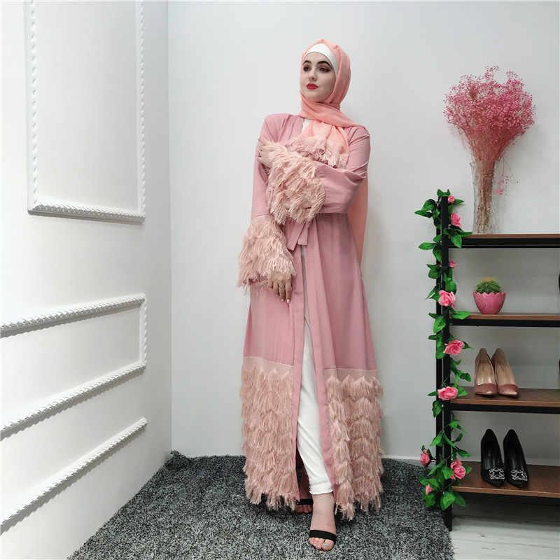 ファッションエレガントなオープン女性毛深いレースロングカーディガンローブイスラム教徒のカフタンドレスラマダンアラブイスラム服