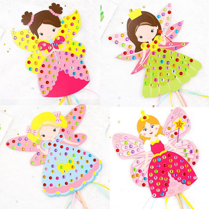 4Pcs/set 3D DIY Colorful Princess Cane Fairy Diamond Magic Wand Girls Toys Handmade Material Package Art Crafts Kindergarten Toy