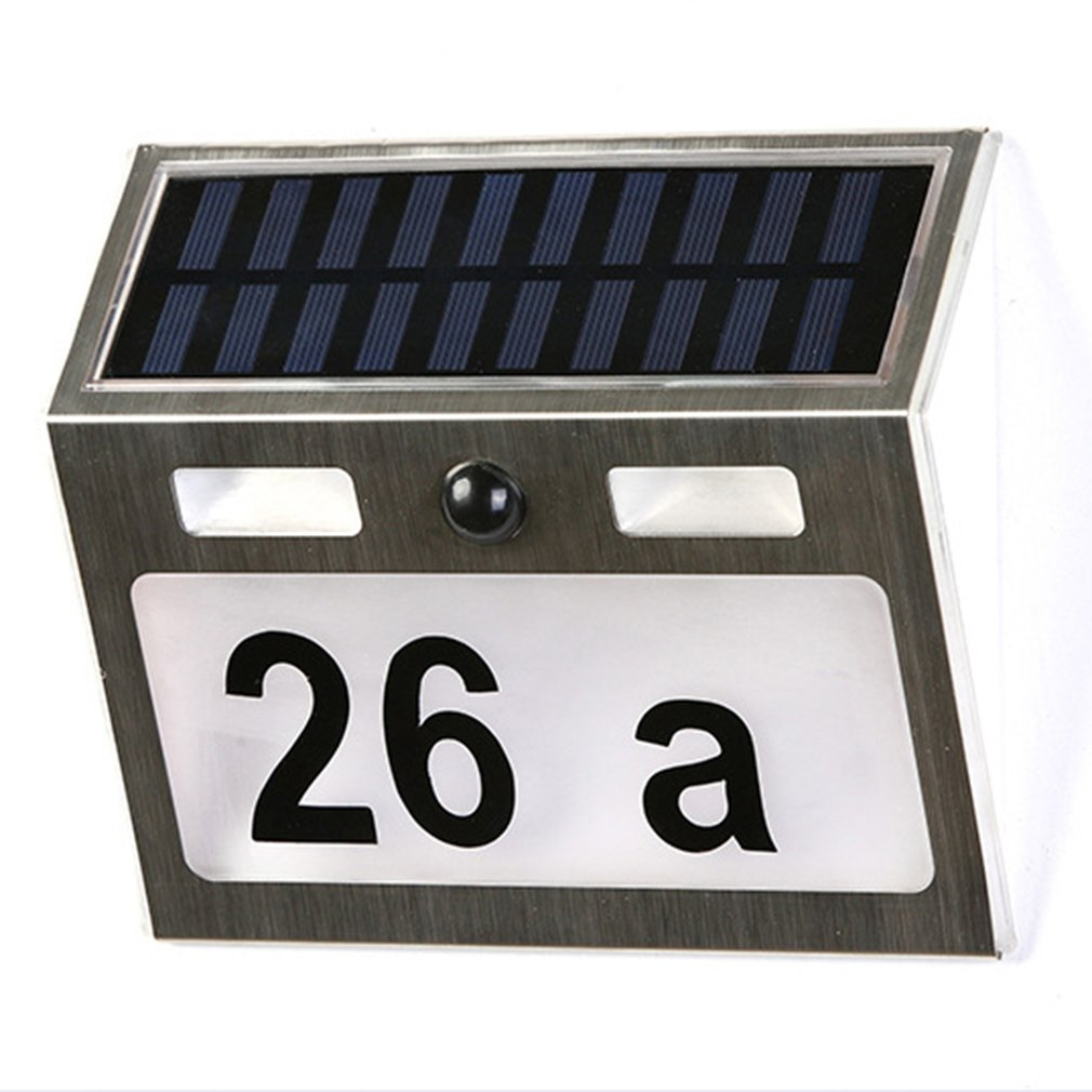 Polysilicon house number lamp Solar Power LED Light Sign House Hotel Door Address Plaque Number Digits Plate 2
